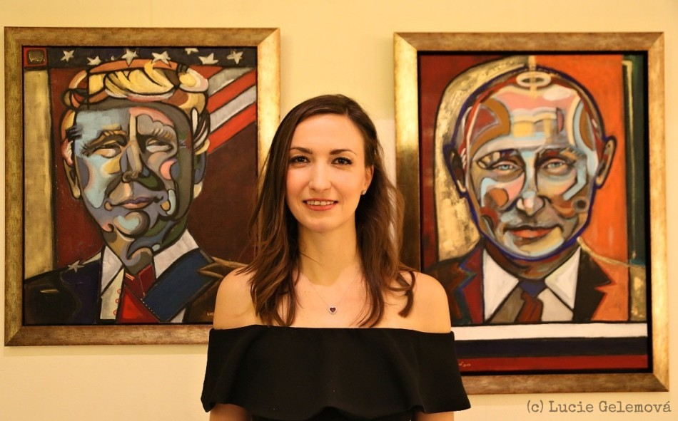 Lucie with her presidents - acrylic , charcoal and pigment on canvas